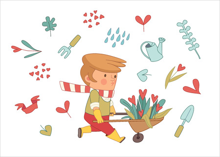 dodo: Love Gardening, cartoon vector illustration - a gardener wearing gloves and yellow rubber boots wheeling a bunch of flowers in a barrow, surrounded by garden elements in heart shape, Dodo people set Illustration