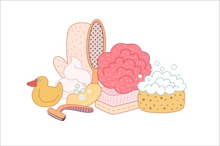 personal hygiene: The set of hygiene grouped elements on white background, flat cartoon vector illustration