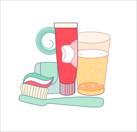 rinsing: The set of hygiene grouped elements on white background, flat cartoon vector illustration