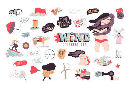 rosa vientos: Una ilustración de dibujos animados plana del vector de un conjunto de pegatina chica morena