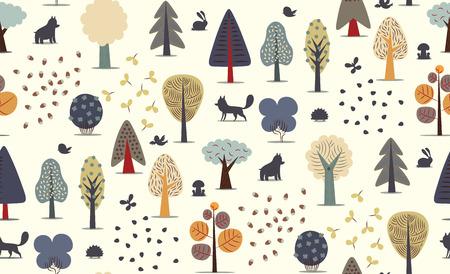 De vector geïllustreerde naadloze patroon van de flat bos elementen - diverse bomen, wilde dieren en zaden. Vector Illustratie