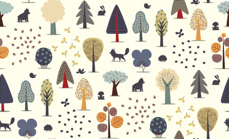 The vector illustrated seamless pattern of flat forest elements - various trees, wild animals and seeds.