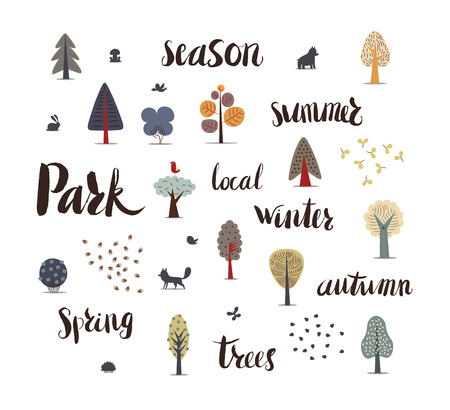 The vector illustration of flat forest elements - various trees, wild animals and seeds accompanied with hand drawn writings Park, season, summer, local, winter, spring, autumn, trees.