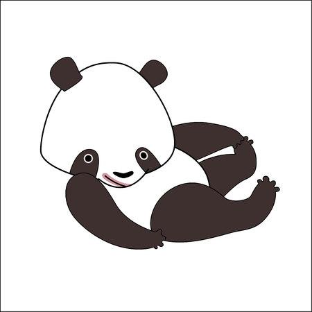 Una ilustración vectorial de un pequeño oso panda.