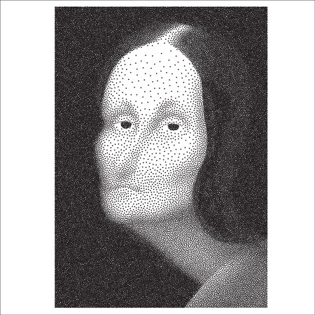 The illustrated Gioconda halftone dotted black and white portrait