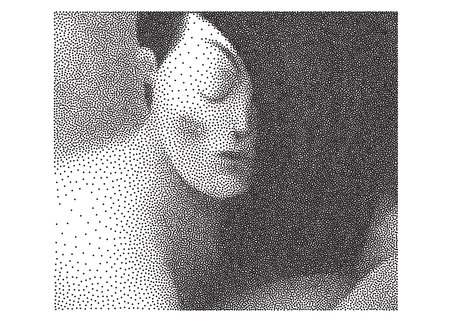 black woman: The illustrated halftone dotted black and white portrait of young woman with flowing hair looking down