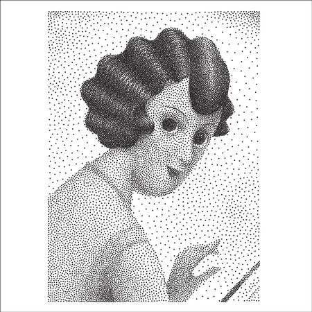 woman tablet: The illustrated halftone dotted black and white portrait of a young woman half-turned and looking back, vintage illustration 1920s style Illustration