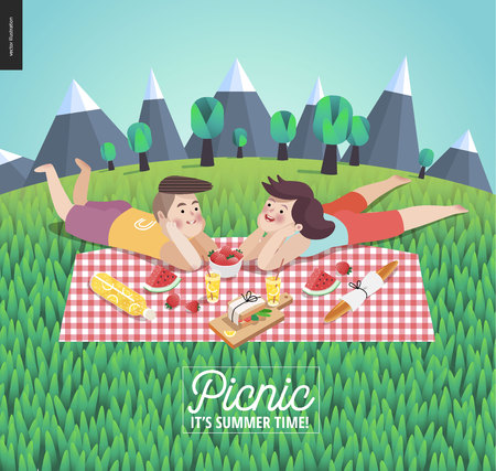Young couple on picnic template - flat cartoon vector illustration of young woman and man laying down on checkered plaid in landscape with mountains and trees, and field of grass on the foreground Illustration