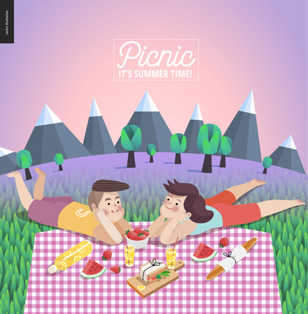 Young couple on picnic template - flat cartoon vector illustration of young woman and man laying down on checkered plaid in landscape with mountains, trees and lilac sky on the background 矢量图像