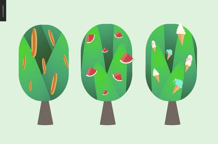arboles caricatura: El pan, la sandía y el árbol de helado - ilustración de dibujos animados de estilo plano del vector de tres árboles aislados con pan, sandía y helado en ellos
