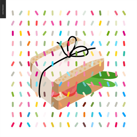 Wrapped sandwich in paper with pack thread and a pattern - cartoon flat vector illustrated sandwich, and twisted geometric colorful pattern of sprinkles above on white background 向量圖像