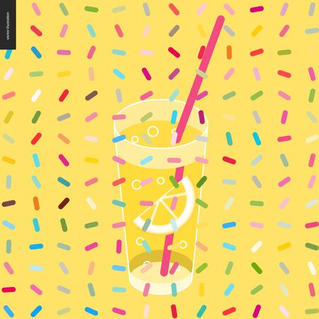 aerated: Glass of lemonade and a pattern - cartoon flat vector illustrated glass of lemonade with drinking straw, lemon pieces inside, and twisted geometric colorful pattern of sprinkles above on the yellow Illustration