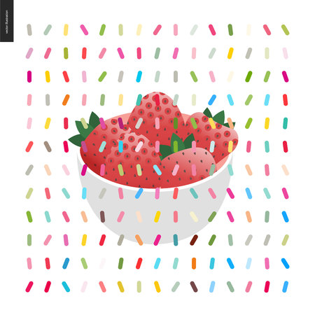 sprinkles: Strawberry in bowl and a pattern - cartoon flat vector illustrated strawberries inwhite bowl, and twisted geometric colorful pattern of sprinkles above on the white background