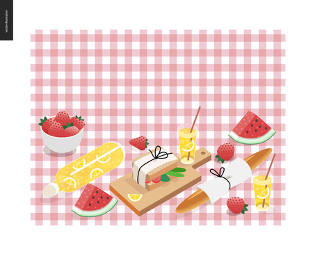 cartoon berries: Picnic plaid and snack template - vector cartoon flat illustration of snack and drink for picnic on a checkered pink picnic plaid