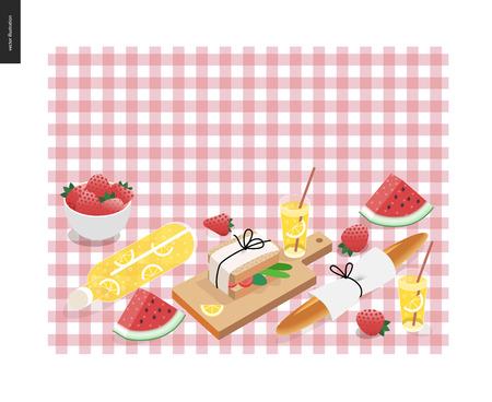 Picknick Plaid und Snack-Vorlage - Vektor-Cartoon flach Illustration der Snack und trinken für Picknick auf einem rosa karierten Picknick Plaid