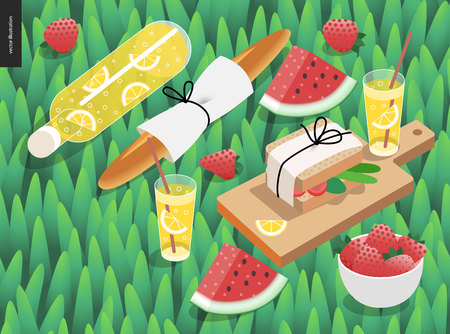 fresh bread: Picnic snack and grass template - vector cartoon flat illustration of snack and drink for picnic - botttle and glass of lemonade, baguette, watermelon, sandwich, on a green grass background Illustration