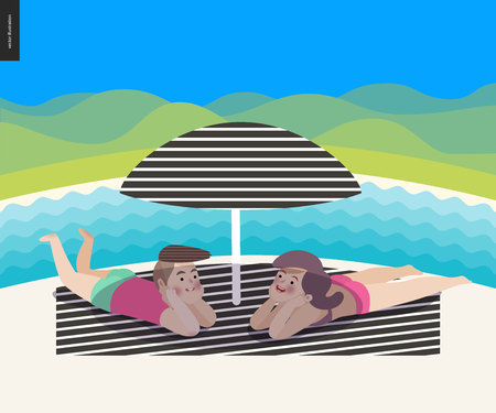 Beach summer scene with a landscape, cartoon vector illustration - a young couple laying under the beach striped umbrella on the striped plaid, with a waved river and hills in background Illustration