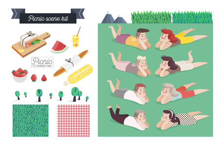 grass: Picnic scene kit - a collection of vector cartoon elements for picnic scene creating. Few couples - young man and woman laying together on grass, checkered plaid and grass field patterns, few food elements