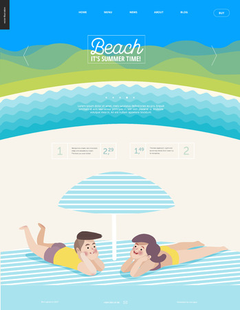 Beach web template - cartoon vector illustration of a young heterosexual couple laying on striped plaid on a beach under the striped umbrella and summer river landscape, with hills on background