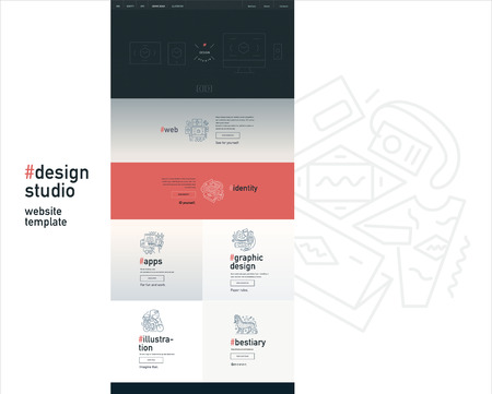 block of flats: Design studio website flat contemporary template - website layout on design with topic blocks of graphic design, web design, identity, illustration, application development, company profile, bestiary