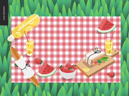 outdoor dining: Picnic plaid and snack on green grass template - vector cartoon flat illustration of snack and drink for picnic, on a checkered pink picnic plaid on green grass background Illustration