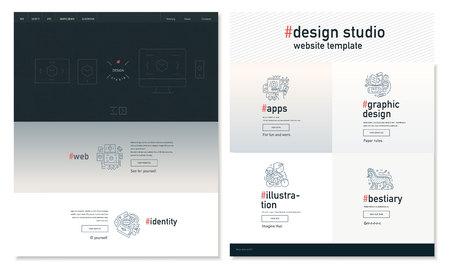 block: Design studio website flat contemporary template - website layout on design with topic blocks of graphic design, web design, identity, illustration, application development, company profile, bestiary