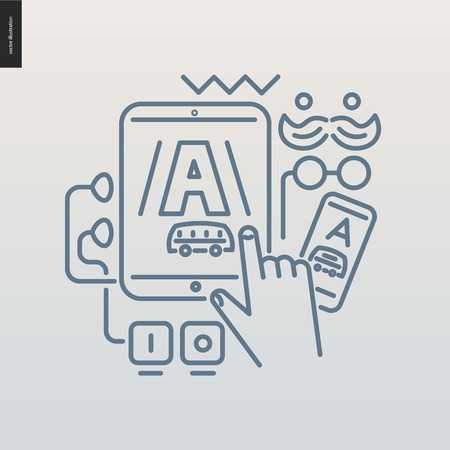 screenshot: App development outlined icon - contemporary flat vector icon of mobile application development for design studio website - various devices with one application screenshot on a screen
