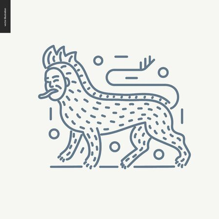 bestiary: Bestiary outlined icon - contemporary flat vector isolated icon of bestiary part for design studio website