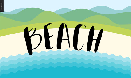 green hills: Beach, calligraphy lettering - vector cartoon brush calligraphic black brush writing on the illustration of summer landscape with sand, sea waves and green hills on the background