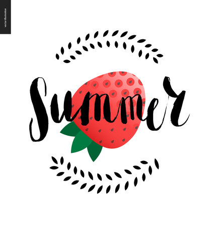 strawberry cartoon: Summer lettering and strawberry - a vector cartoon black brush hand written lettering Summer Illustration