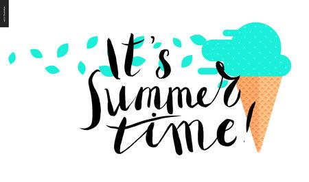 helados caricatura: que es tiempo de verano, las letras - un texto y menta helado de la historieta del vector pincel negro escrito a mano en cono de la galleta con hojas de menta soplado por el viento Vectores
