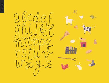 Vector handwritten script latin alphabet on the yellow background with rural elements Illustration