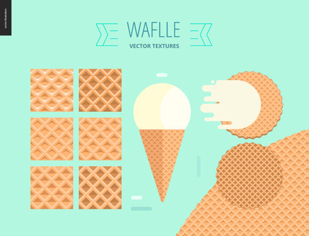 belgian waffle: Vector illustration of six seamless waffle patterns and red fruit ice cream scoop in a waffle cone, flat ribbon and two round belgian waffles on mint background