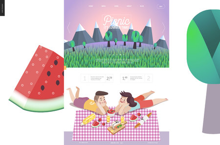 woman laying down: Picnic website template - landscape in header, and flat cartoon vector illustration of woman and man laying down on checkered plaid with picnic snack Illustration