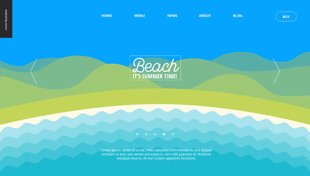 Summer beach landscape background web banner template - cartoon vector illustration of summer landscape with water and hills on blue sky Illustration