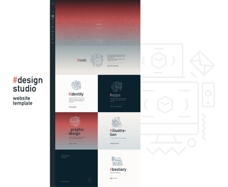 bestiary: Design studio website flat contemporary template - website layout on design with topic blocks of graphic design, web design, identity, illustration, application development, company profile, bestiary
