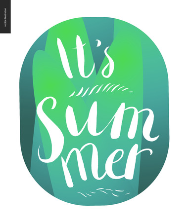 summer vegetable: It s summer lettering - a vector cartoon white brush hand written lettering It s summer on green vegetable striped background