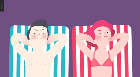 spoil: Unhappy couple sunbathing on the beach - a flat cartoon vector illustration of a couple sunbathing lying on the striped beach mattresses anger to each other