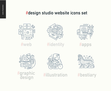 bestiary: Design studio website outlined icons set - contemporary flat vector icons of web design, identity, graphic design, app development, illustration and team bestiary, for design studio website, on white