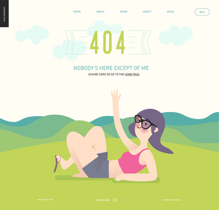 lying down: 404 error web page template with waving girl on green landscape background - a girl wearing sun glasses, magents top and grey shirts waves lying down on grass with hills landscape on the background Illustration