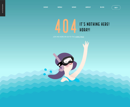 404 error web page template with waving girl in diving mask in the water - a waving scuba diver girl wearing diving mask, snorkel and blue swimming suit coming up from the sea waves