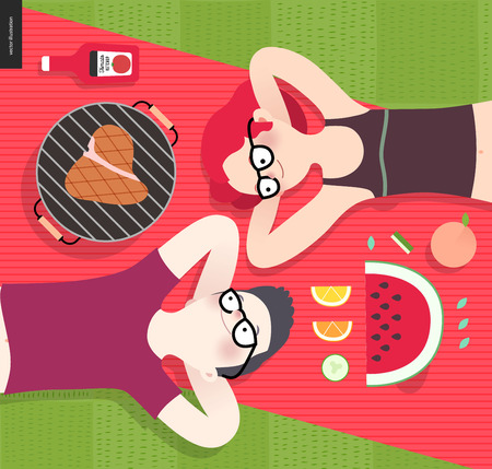 red plaid: Young couple on picnic, top view,vegetarian vs meat eater - flat cartoon vector illustration of woman and man laying down on red plaid on green grass, with vegetarian and meat meal