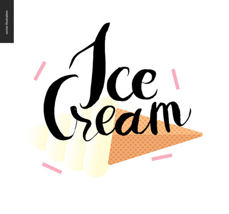 waffle ice cream: Ice Cream lettering and waffle ice cream cone - a vector flat cartoon illustration and black ink writing