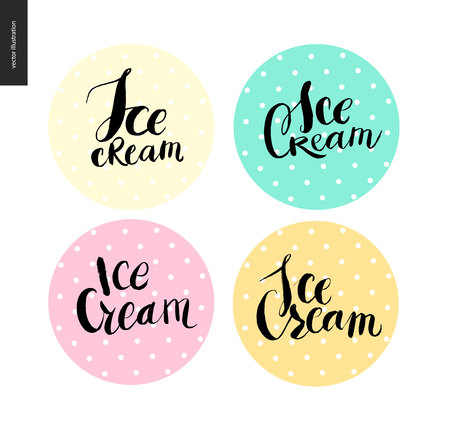 raspberry pink: Set of writings Ice Cream on four dotted circles - black vector ink and brush lettering Ice Cream on various colored circles