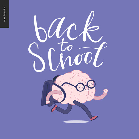 running back: Back to school lettering. Flat cartoon vector illustration - a brain wearing glasses running with a schoolbag.
