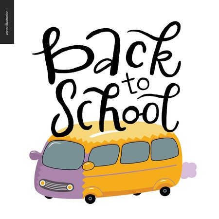 shool: Back to school lettering. Flat cartoon vector illustration of a shool yellow bus