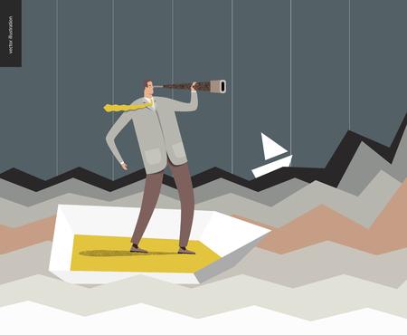 Geschäftsmann mit einem Teleskop in einem Boot. Flache Vektor-Konzept Cartoon-Illustration eines Mannes trägt Anzug, Blick durch das Teleskop, in einem kleinen Boot stehend, umgeben von starken Wellen, wie Graphen.