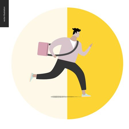 hurrying: Young man running with a bag in a round shape. Flat vector cartoon illustration of a young man hurrying to somewhere, wearing a bag on a long belt.