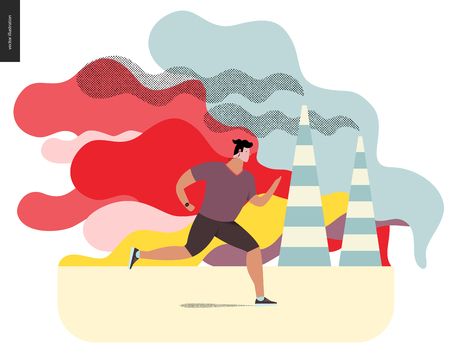 Young man running in smog, gas-polluted air. Flat vector cartoon illustration of a young sportsman running along the urban street, with a lot of smoke and industrial pipes smoking on the background. Illustration