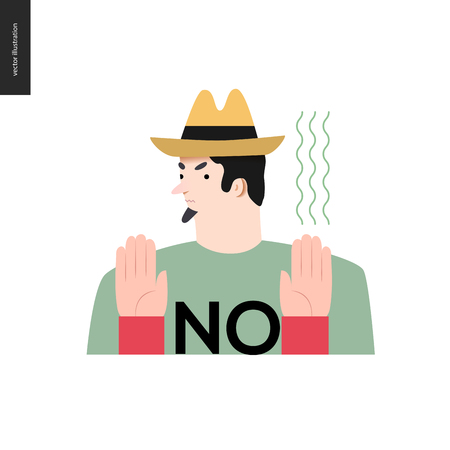 refusing: Refusing man. Flat vector cartoon illustration of a man wearing a yellow hat, t-shirt with a sign NO and beard, refusing of something, showing two palms, Illustration